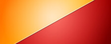 Yellow-Red Background Divided By Diagonal. Vector 3d Illustration. Background Into Two Colors With Halftone Dots.