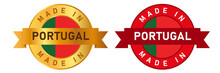 Made In Portugal Label Stamp For Product Manufactured By Portuguese Company Seal Golden Ribbon And Flag