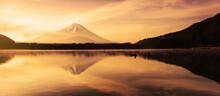 Mount Fuji From Shoji Lake With Fishing Boat At Sunrise