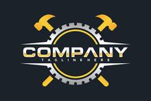 Gear Hammer Emblem Logo