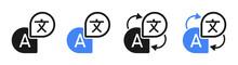 Translate Icon Set. Language Translation Signs . Isolated Black And Blue Symbols On White Background. Vector To PNG Illustration.
