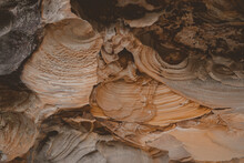 Detail Shot Of Eroded Pattern Of Sandstone Layers Texture. Seen On A Hike At Berowra Creek Near The Hawkesbury River.