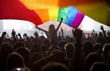 Gay Parade With LGBT Flag.