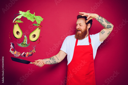 Canvas Man chef with pan in hand acts like a sorcerer