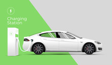 Electric Car Charging Station Web Site  Banner Or Landing Page Concept With Side View Electric Car And Charger On Green And Gray Background. Vector Illustration