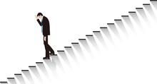 絶望して階段を下りるビジネスマン。ベクター素材