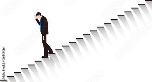 Canvas Print 絶望して階段を下りるビジネスマン。ベクター素材