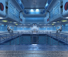 3d Render Of Blue Sci-fi Artifact Interior