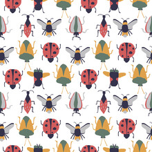 Ladybug, Coccinella Septempunctata, Cartoon Seamless Vector Pattern Isolated On White Background. Design Use For Background, Fabric, Paper And Others.