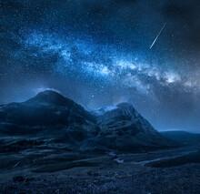 Milky Way Over Mountains In Glencoe, Scotland. Highlands In Scotland