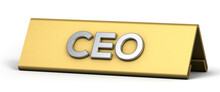 CEO Word With Golden Nameplate Isolated On White Background. 3d Illustration.
