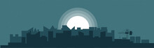 Panorama Of Industrial City In The Moonlight