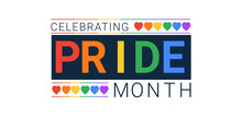 Celebrating Pride Month With A Heart. Rainbow Bright Banner For Billboards And T-shirts, Can Be Used As A Seal For Caps And Masks. Isolated On A White Background