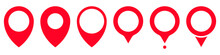 Set Of Location Labels. Map Pointer Icon, Location Markers In Red. Set Of Vector Location Icons Isolated On White Background. Stock Illustration EPS 10