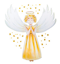 Shining Blond Angel In Yellow Dress With Wings And Nimbus. Isolated Illustration, White Background
