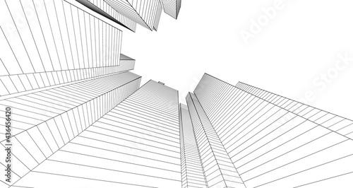 Fotografia city abstract architecture 3d illustration background
