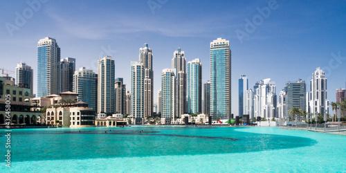 Downtown Dubai and Burj Khalifa lake Fotobehang