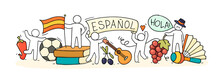 Banner With Little Peoplen And Spanish Symbols.