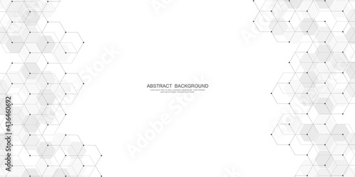 Abstract background with geometric shapes and hexagon pattern Fototapet