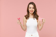 Young Smiling Happy Excited Woman 20s Wearing White Clothes Holding Card Sign With Respect My Pms Text Tampons Look Camera Isolated On Pink Background Studio Medical Healthcare Gynecological Concept