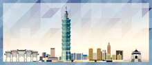Taipei Skyline Vector Colorful Poster On Beautiful Triangular Texture Background