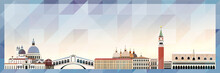Venice Skyline Vector Colorful Poster On Beautiful Triangular Texture Background