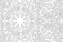 Line Art For Coloring Book With Vintage Pattern
