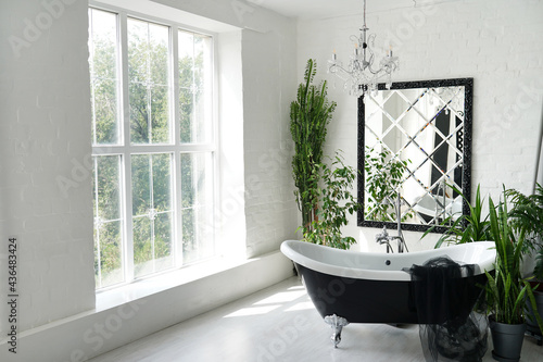 Luxury bathroom with big mirror and green plants in old house Fototapet
