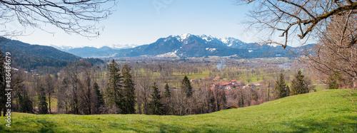 Fotografiet view from Sunntratn hillside to isar valley and Brauneck mountain, upper bavaria