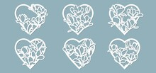 Set Stencil Hearts With Flower Magnolia. Template For Interior Design, Invitations, Etc. Vector Illustration. Sticker Set. Pattern For The Laser Cut, Serigraphy, Plotter And Screen Printing.