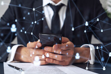 A Potential Employee In Formal Wear Reading The Contract To Boost His Career And Gain New Opportunities In Personal Growth. Checking The Details Of The Deal At Smartphone. Social Media Hologram Icons