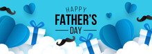 Father's Day Sale Banner Template For Social Media Advertising, Invitation Or Poster Design With Paper Art Heart Shape And Gift Box Background.