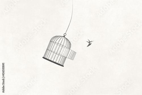 Slika na platnu illustration of little bird flying out of open birdcage, surreal freedom motivat