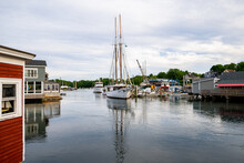 Sailboat Tied To Dock, Maine