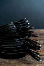 Stack Of Cast Iron Skillets