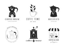 Collection Of Hand Drawn Coffee Shop, Cafes, Coffee Stores Logos With Macchinetta, Beans Grinder And Cup