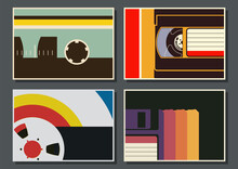 1980s Posters Template Set, Vintage Technologies, Floppy Disc, Audio Tape, Video Cassette, Bobbin. Vintage Color Backgrounds