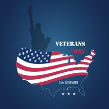 Vector Illustration Dedicated To Veterans Day In The USA On A Dark Blue Gradient Background. Happy Veterans Day. Poster, Banner, Sign.