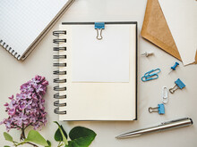 Blank Notepad Sheet For Your Congratulatory Message. Closeup, View From Above. No People. Concept Of Preparation For A Holiday. Congratulations For Relatives, Friends And Colleagues