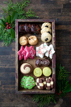 Holiday Cookies In Wood Box