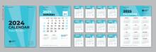 Set Desk Calendar 2024 Design, Calendar 2024 Template And Set Of 12 Months, Calendar 2025 Design Poster, January Month Layout, Week Start On Sunday, Simple, Planner, Wall Calendar Template