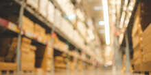 Blurry Background Of Warehouse Inventory Product Stock For Logistic Background, Global Business For Good Import And Export, Stock Storage Industrial Delivery, Logistic Factory Cargo Container