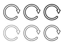 Set Of Blank Circular Symbol, Arrow Icon, Refresh Graphic Vector. Collection Of Web Button