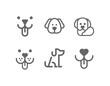 Dog, puppy vector line icon set