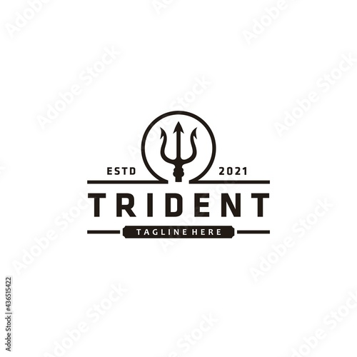 Obraz na płótnie Trident neptune god poseidon triton king spear vintage logo design