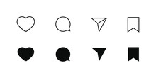 Like Comment Share Save  UI Interface Social Media Networking Flat Line Icons Set