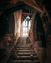 Light Coming Through A Huge Window In The Haunted Spicer Castle In Serbia