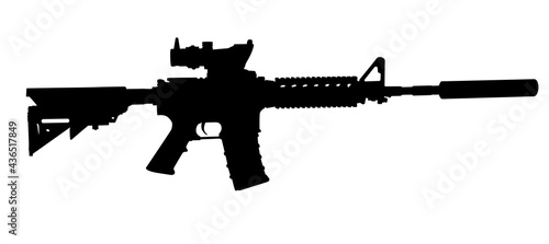 Fotografiet Vector image silhouette of modern military assault rifle symbol illustration isolated on white background