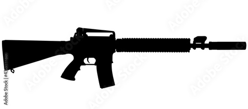 Canvas Print Vector image silhouette of modern military assault rifle symbol illustration isolated on white background