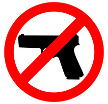 No Gun Sign, Prohibition Warning Sign, Ban. Restricted Area, Pistol Not Allowed. Vector Image Silhouette, Illustration Isolated On White Background.